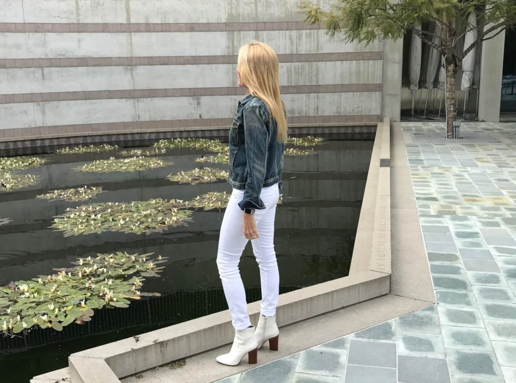 white jeans denim jacket